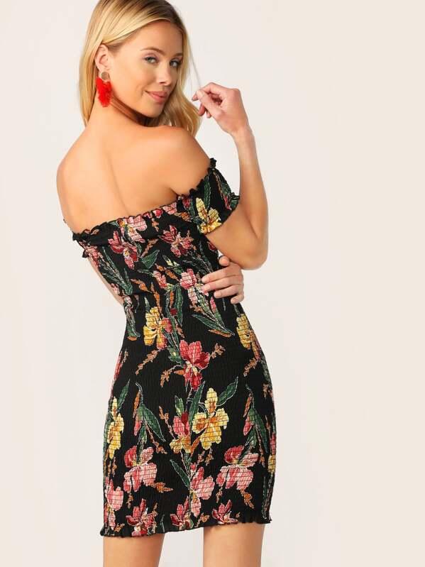 cbb4edbc91 Floral Frill Trim Shirred Bodycon Off Shoulder Dress   SHEIN