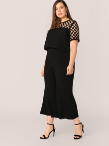Plus Scallop Geo Cut Yoke Trim Top & Crop Flare Leg Pants Set
