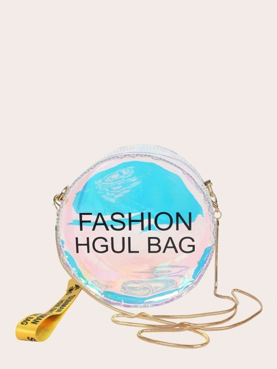 Letter Print Round Shaped Chain Bag