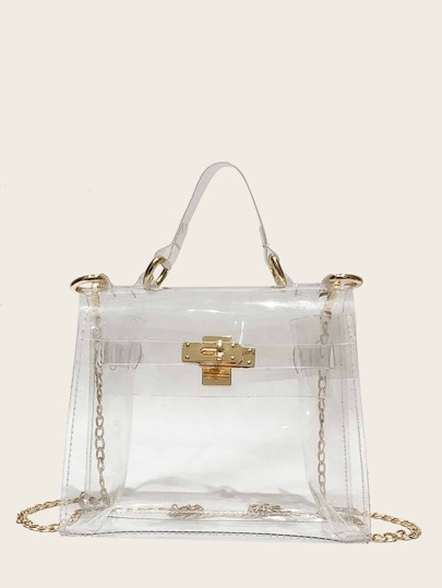 Twist Lock Clear Chain Satchel Bag