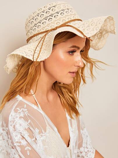 Lace-up Decor Hollow Floppy Hat