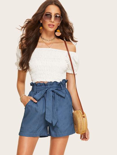9ff4e5062fb Paperbag Waist Pocket Patched Denim Shorts
