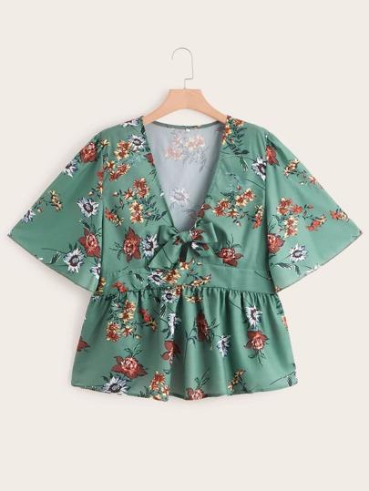 0a895675c Blusa con nudo bajo fruncido con estampado floral-grande