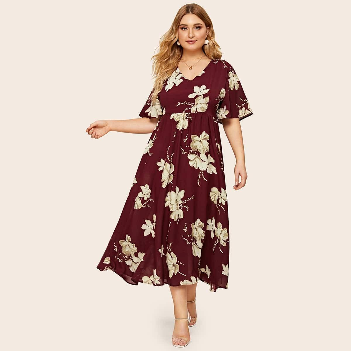 Übergroßes Kleid mit Blumen Muster