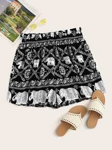 Plus Tribal Print Shorts