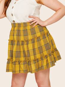 Plus Tiered Layer Plaid Skirt