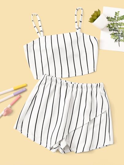 9624c55c0c Knot Back Crop Cami Top and Wrap Shorts Co-ord | SHEIN UK
