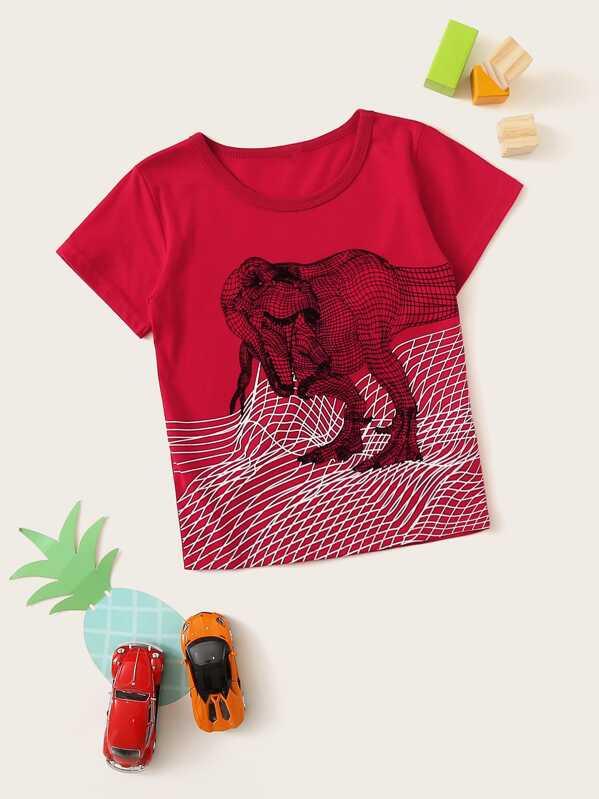 ef53cda4f7839 T-shirt avec imprimé dinosaure | SHEIN