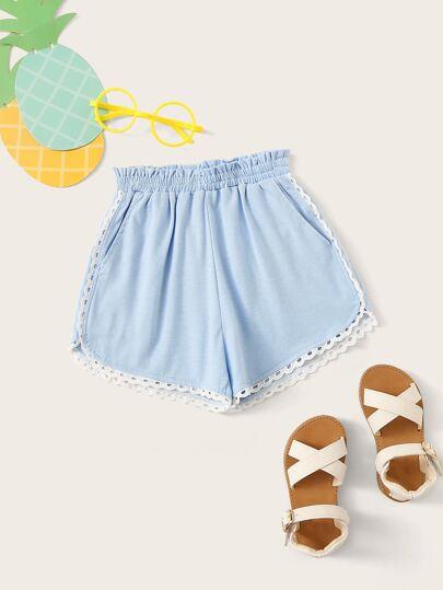 83f1023dc5 Toddler Girls Ruffle Waist Lace Trim Shorts