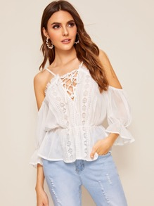 Lace-up Neck Guipure Lace Trim Top