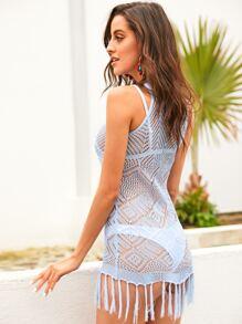24a688d3d7327 Fringe Hem Pointelle Knit Cover Up Without Lingerie | SHEIN UK