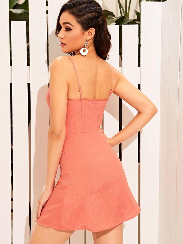 400b8e9008ed Solid Button Front Mini Slip Dress | SHEIN