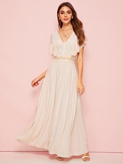 4ad7a350ac V-neck Ruffle Trim Lace Insert Flare Dress | SHEIN IN