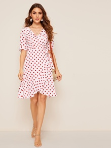 Knot Cuff Polka Dot Wrap Ruffle Dress