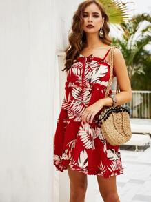 Tropical Frill Trim Cami Dress