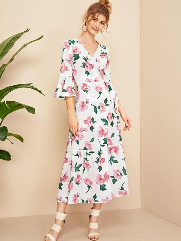 6d045524298 Floral Print Flounce Sleeve Self Tie Wrap Dress