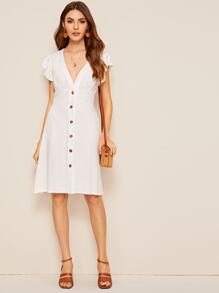 Ruffle Trim Button Up Plunging Tea Dress