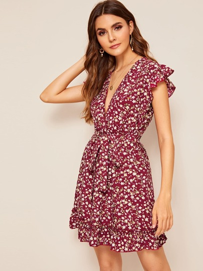 Ditsy Floral Plunging Neck Ruffle Dress
