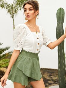 Eyelet Embroidery Button Through Blouse