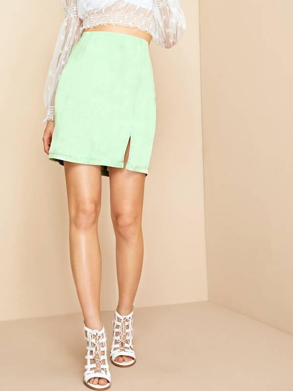 ad039d052 Solid Zip Back Slit Hem Skirt   SHEIN