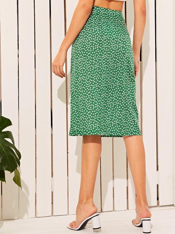 180aeedaa Ditsy Floral Print Slit Hem Button Front Skirt | SHEIN