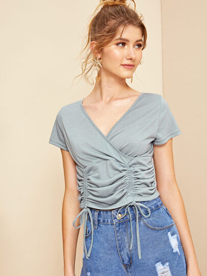 fc6f7ea5660 Drawstring Ruched Front Wrap Crop Top