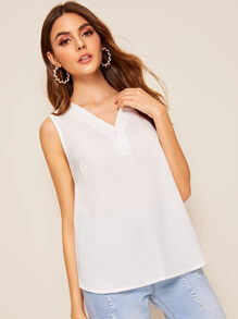 Solid V Neck High Low Hem Top