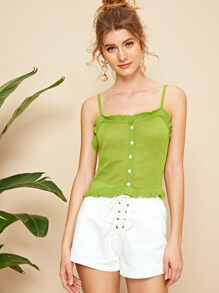 Frilled Trim Button Front Knit Cami Top
