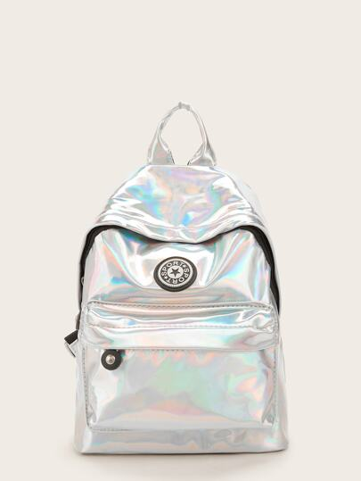Iridescent Front Zipper Backpack