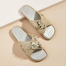 Sequin Details Criss Cross Flat Slippers