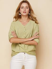Button Front Twist Blouse