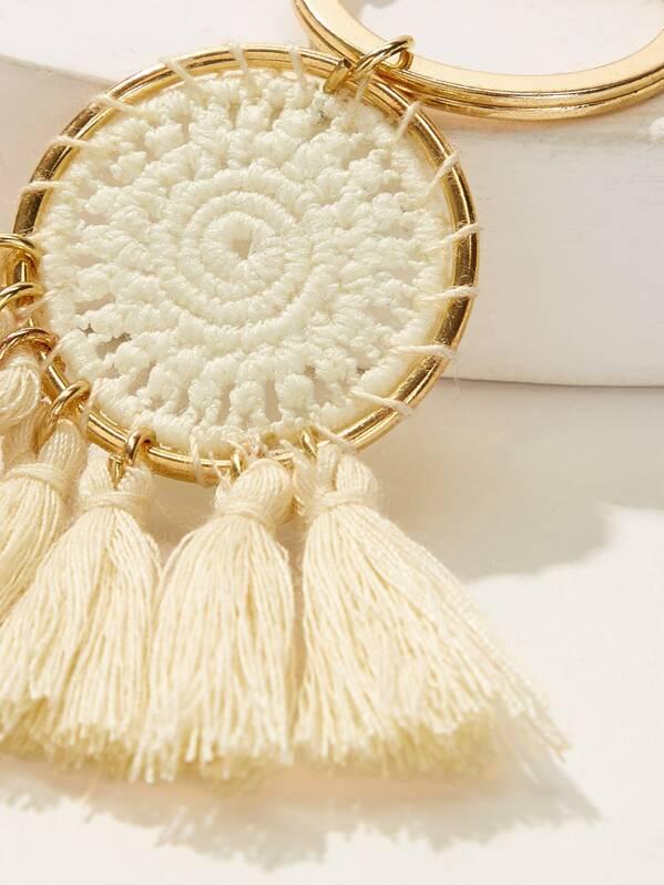 28e5a8b01d Tassel & Crochet Detail Ring Keychain | SHEIN IN