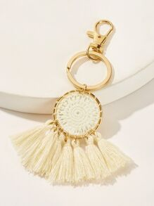 Tassel & Crochet Detail Ring Keychain