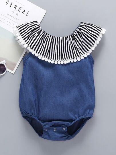 238df99bf6 Baby Lace Trim Contrast Stripe Popper Denim Romper