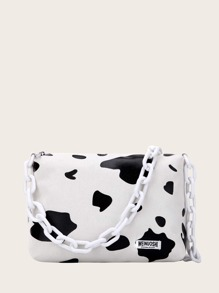 Random Strap Cow Print Shoulder Bag