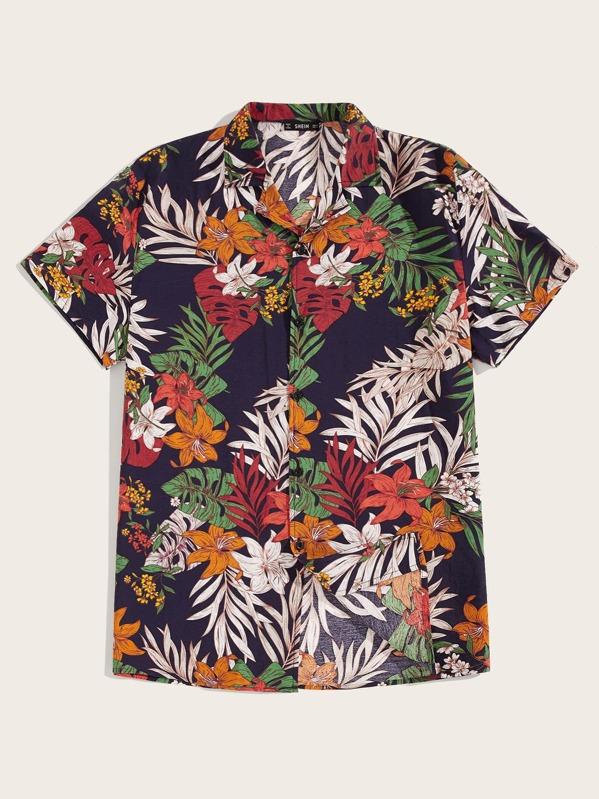 0708b0a2c476 Men Button Front Tropical Print Shirt | SHEIN
