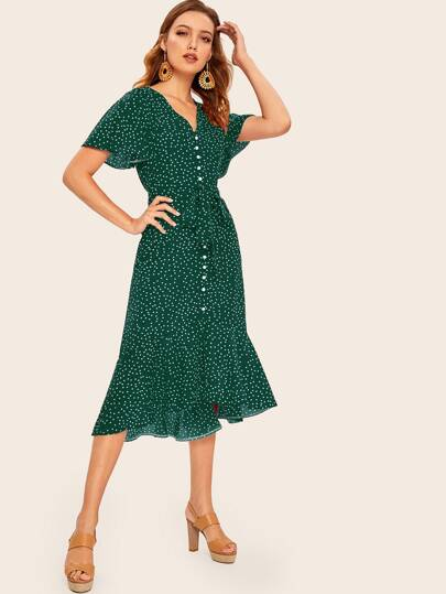 59f01080 Confetti Dot Print Asymmetrical Hem Belted Dress