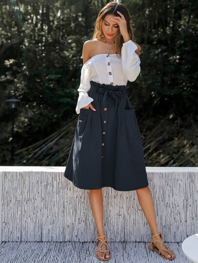 Button Through Dual Pocket Self Tie Paperbag Skirt