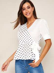 Polka Dot Print Knot-side Peplum Blouse
