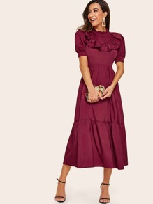 Bishop Sleeve Ruffle Neck Midi Dress