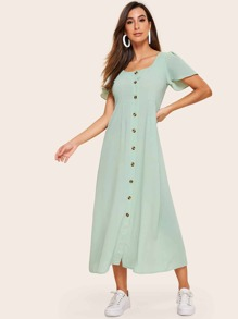 Button Front Shirred Back Longline Dress