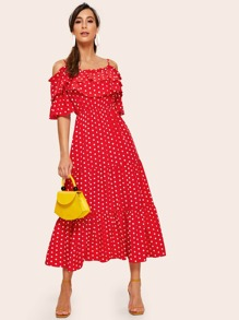 Polka Dot Cold Shoulder Ruffle Trim Dress