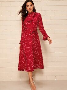 Confetti Heart Print Flounce Sleeve Midi Dress