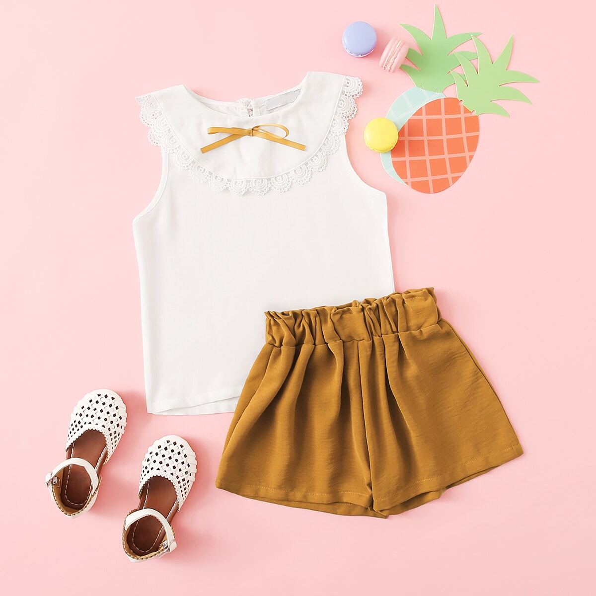 Toddler Girls Contrast Lace Top With Shorts