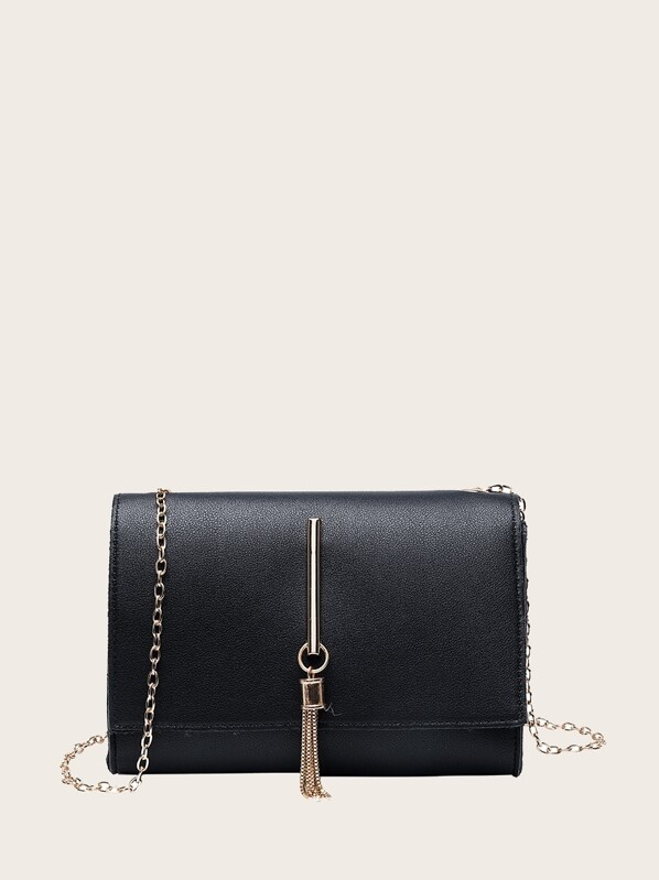 70843b8999dcfe Tassel Decor Flap Chain Crossbody Bag | SHEIN UK