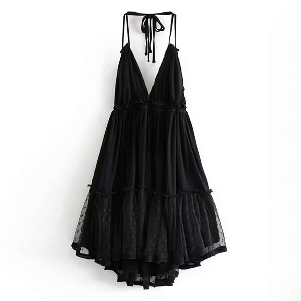 Сетчатое Платье-Халтер С Кружевом