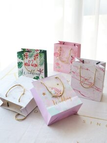 Flamingo & Unicorn Print Paper Bag 5pcs