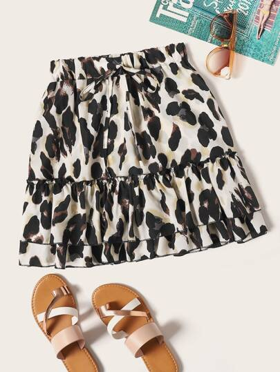 Plus Leopard Print Tiered Layer Skirt