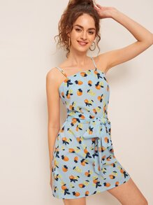 Strawberry Print Tie Front Cami Dress