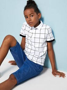 Boys Contrast Cuff Grid Polo Shirt